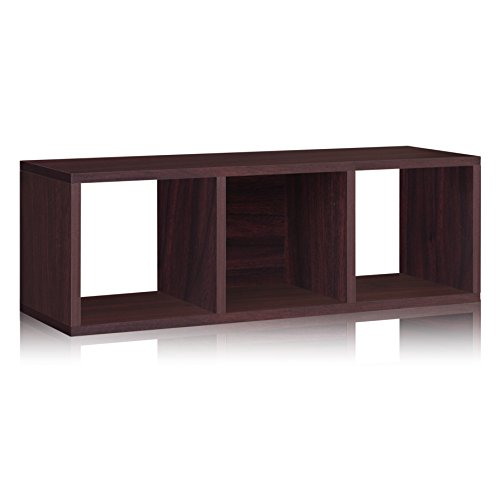 Way Basics Eco 3 Cubby Storage Bench and Stackable Organizer, Espresso (made from sustainable non-toxic zBoard paperboard) - Bench Organizer