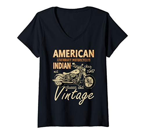 Womens Retro Vintage American Motorcycle Indian for Old Biker Gifts V-Neck T-Shirt