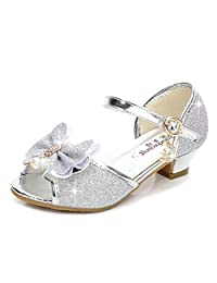 Bumud Kid's Fashion Low Heel Shoes Little Girl's Glitter Pretty Party Dress Pumps Sandals