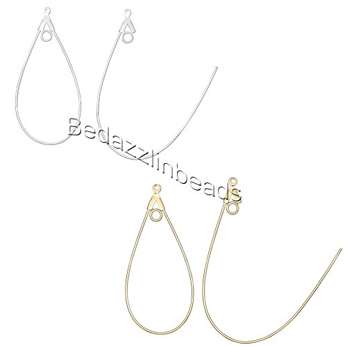 - 20 Teardrop Shaped Beading Hoop Earring Finding Components w/ Loop Plated Brass Metal (Gold Plated)