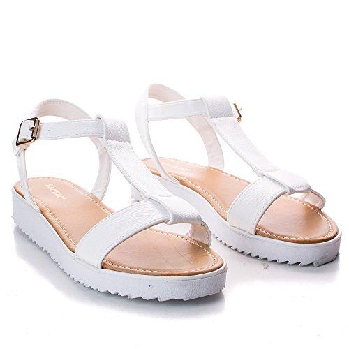 T-Strap Slingback Low Flatform Flat Open Toe Sandal