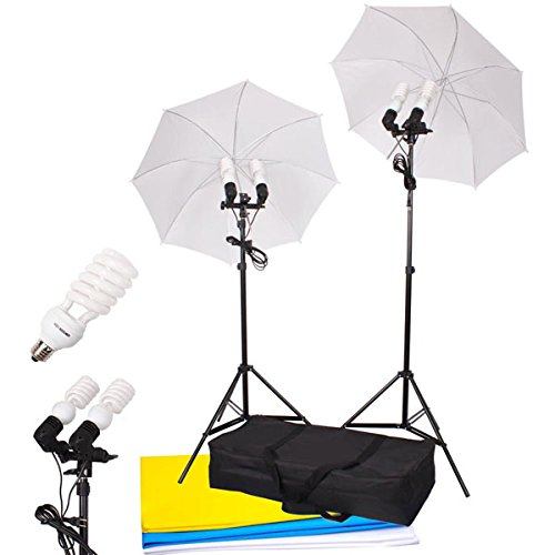 33'' Umbrella Photo Lighting Continuous 4 Lights Kit Backdrop by LASHOP
