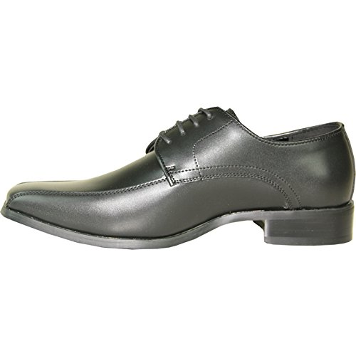 VANGELO Men Tuxedo Shoe TUX-5 Square Toe for Wedding, School Uniform & Formal Event Black