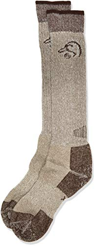 Ducks Unlimited Men's All Season Tall Merino Wool Boot Socks (1-Pair), Brown, Large