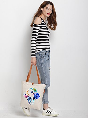 IN.RHAN Women's Skull Flower Graphic Canvas Tote Bag Casual Shoulder Bag Handbag