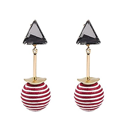 Fashion Thread Striped Ball with Rhinestone Dangle Earrings for Women / AZERPP008-GRB