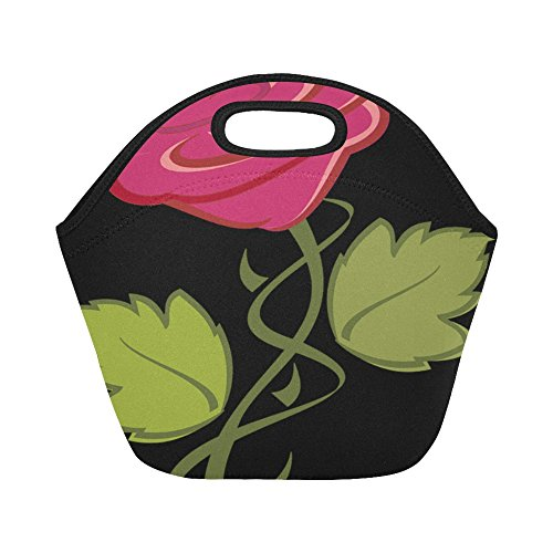 Pink Rose Clipart - Flower Rose Nature Pink Clip Art Clip Unique Custom Insulated Lunch Tote Bag Reusable Neoprene Cooler Portable Lunchbox Handbag For Adult Kids