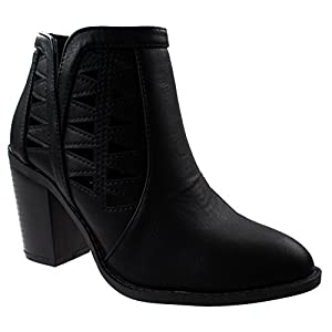 Top Moda Women's Dave-55 Black Pointed Toe Chunky/Block Heel Booties with Decorative Cut Outs 6.5 D(M) US