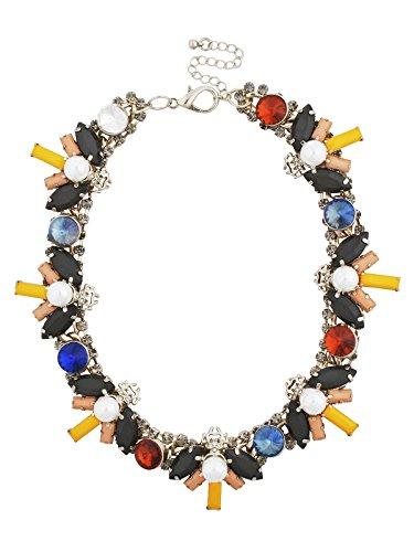 Jane Stone Collier Plastron Statement Fantaisie Strass Perles Multicolore Chic Femme Bijoux Tendance