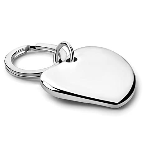 Amazon.com: Bañado En Plata – Llavero con forma de corazón ...