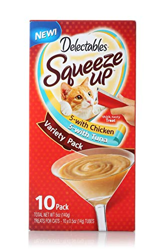 Delectables Squeeze Up Interactive Wet Cat Treats - Chicken & Tuna - 10 Count Variety ()
