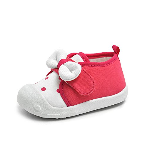 Baby Girls Shoes Princess Bowknot Soft First Walkers Spot Hook Loop Toddler Rosered Sneakers Rubber Sole,Rosered,US size 6: Insole length:14cm/5.51 inches