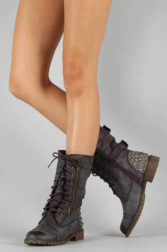 Harley 12 Womens Military Lace up Studded Combat Boot BROWN - stylishcombatboots.com