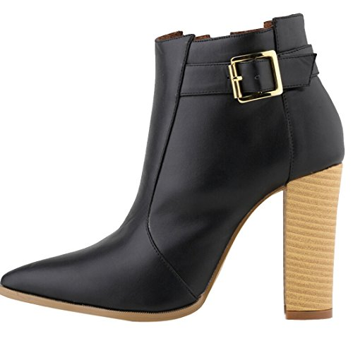 Solid Fashion Chunky Black Ankle ASVOGUE High Bootie Women Heel 7EqwW4x