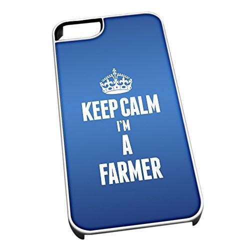 Bianco Cover per iPhone 5/5S Blu 2583Keep Calm I m A Farmer