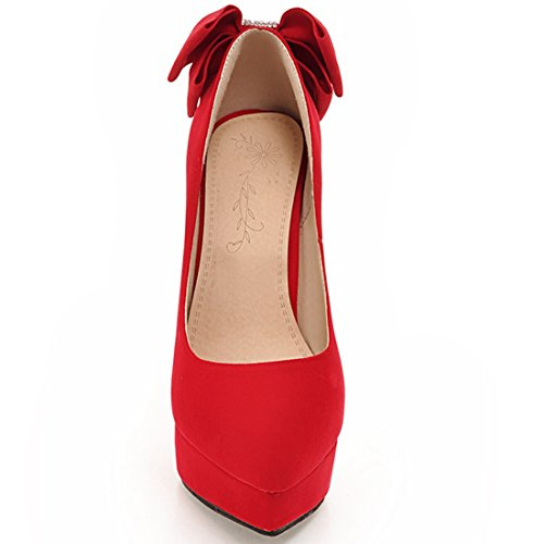 YE Women's Ladies Sweet Closed Toe Platfrom High Heel Bow Prom Party Court Shoes Size 1 Red Xo0qGwVjl6
