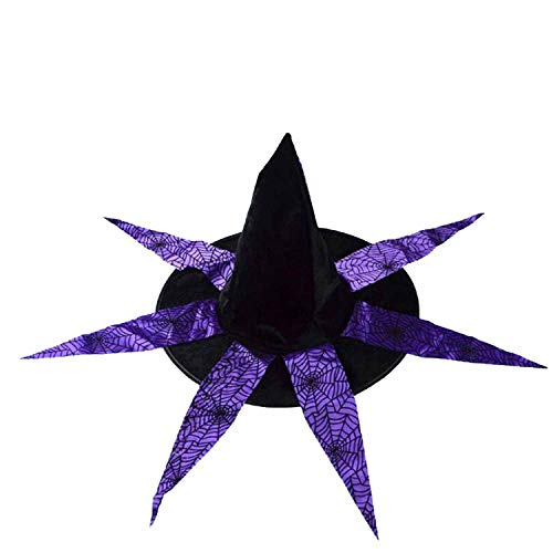 Spiderweb Skull Witch Hat Wizard Hats Caps Adults Carnival Accessories Party Christmas Halloween,Purple -