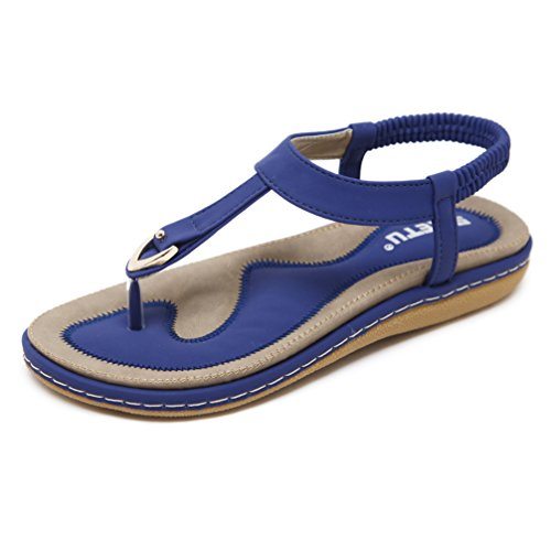 DolphinGirl Bohemian Simple T-Strap Summer Vacation Flat Thong Sandals, Herringbone Glitter Shiny Golden Metal Shoes for Dressy Casual Jeans Daily Wear and Beach Vacation, Sapphire Blue (Womens Fancy Platform Sandal)