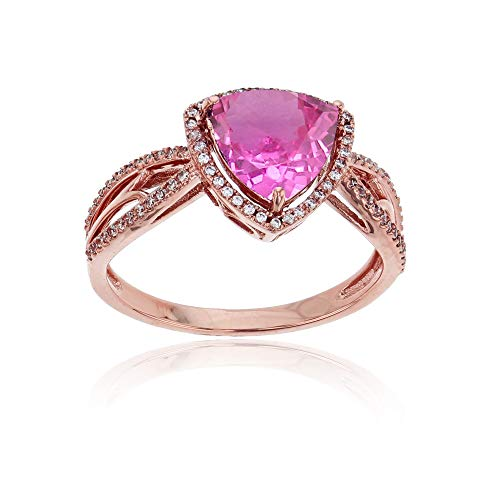 (Sterling Silver Rose 0.20 CTTW Round Diamond & 8mm Trillion Created Pink Sapphire Split Shank Ring)