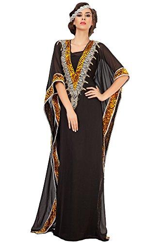 Palas Fashion Women's Arabian Kaftan Maxi Dress Black US Size: 16W