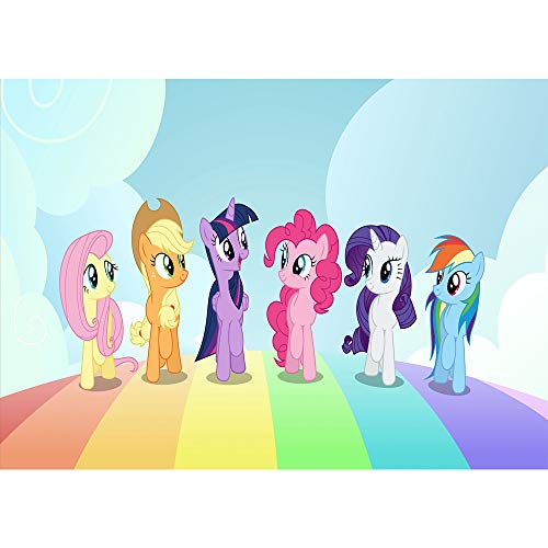 7x5ft Photography Background My Little Pony Party Backdrop Seamless Rainbow Bridge White Cloud Photo Backdrops for Boys and Girls Customized -