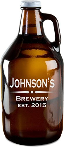 classic amber beer growler - 1