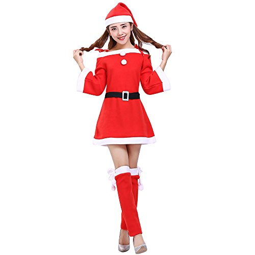 Women Santa Claus Christmas Clothes Costume Party Cosplay Outfit Fancy Dress Hat Belt Leggings Set (Red, XXL)