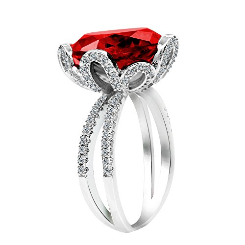 - Uloveido White Gold Plated Big Red Cubic Zirconia Flower Ring - Created Ruby Cocktail Fashion Statement Ring in Silver Color Nice Gift Ideas for Women Girls RJ212-6