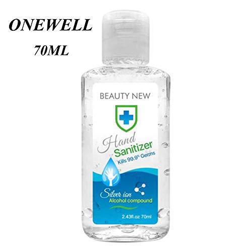 Onewell 70ML Waterless Hand Wash Gel Sanitizer, Portable Hand Cleaning Sanitizer Gel for Kitchen Bathroom Office…