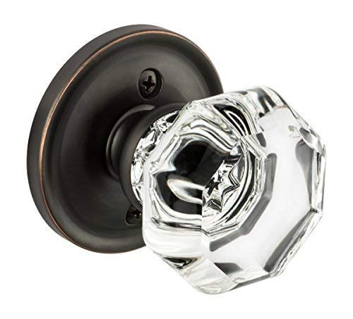 Dynasty Hardware Classic Rosette, Crystal Style Individual Dummy Door Knob, Oil Rubbed Bronze