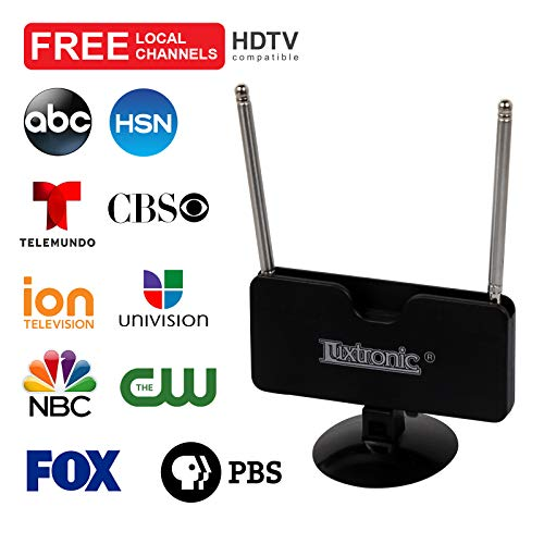 (2019 New Model) Luxtronic Indoor Mini TV Antenna, 40 Miles Signal Reception for 1080P, VHF and UHF, Get Free Local Channels for Smart TV, HDTV and TV Turner with Multi-Positioning Suction Cup- Black