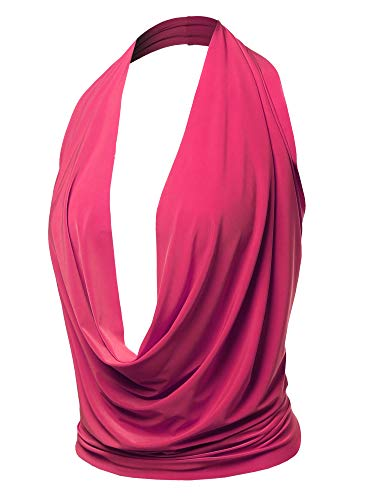 Sexy Drape Deep V-Neck Cowl Neckline Halter Backless Party Club Top Fuchsia M ()