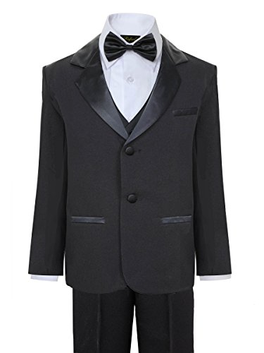 Rafael Boys Tuxedo with Vest, Shirt, and Bow Tie – Black, Size ()