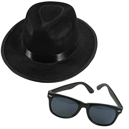 [Black Fedora Gangster Hat and Wayfarer Black Sunglasses by Funny Party Hats] (Fedora Gangster Hat)