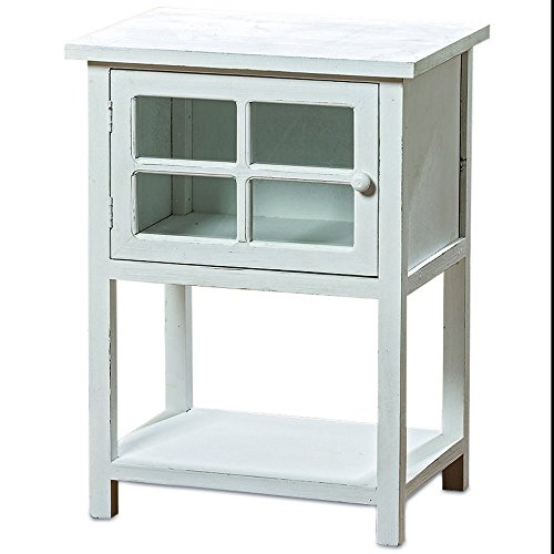 Whole House Worlds The Comfy Cottage Glass-Faced Nightstand Bedside Table, Rustic White Wood, Distressed Finish, Single Door Curiosity Compartment, Visual Storage, 17¾ L x 11¾ W x 23½ H. (Antique White Finish Wood Bathroom)
