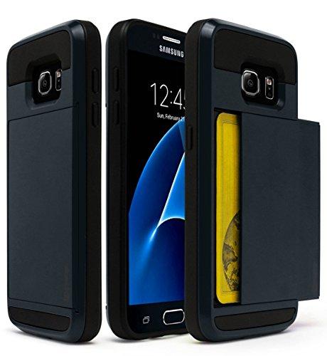 - Bastex Samsung Galaxy S7 Case, Hybrid Black Rubber Silicone Cover Navy Blue Hard Plastic Hidden Credit Card Cash Id Holder Slot Case for Samsung Galaxy S7 G930