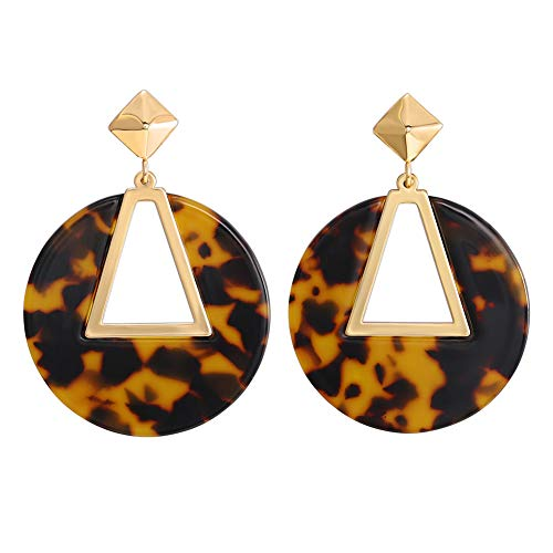 FAMARINE Tortoise Shell Round Circle Triangle Cutout Drop Earrings, Gold Geometric Mottled Acrylic Stud Post Earring for Girls Women