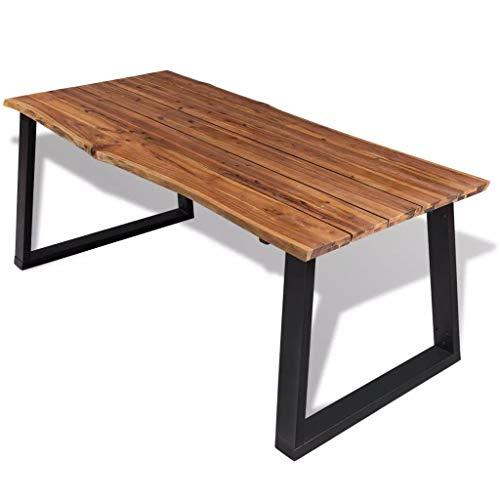 vidaXL Solid Acacia Wood Dining Table W/an Oil Finish Top Metal Legs 70.9