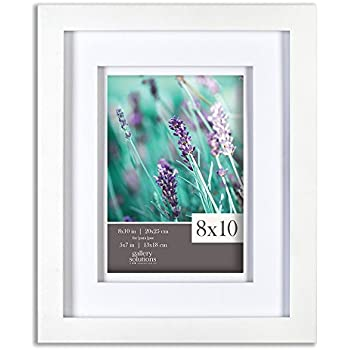 gallery solutions 8x10 white wood frame with double white mat for 5x7 image 12fw1117 - Double 8x10 Picture Frame
