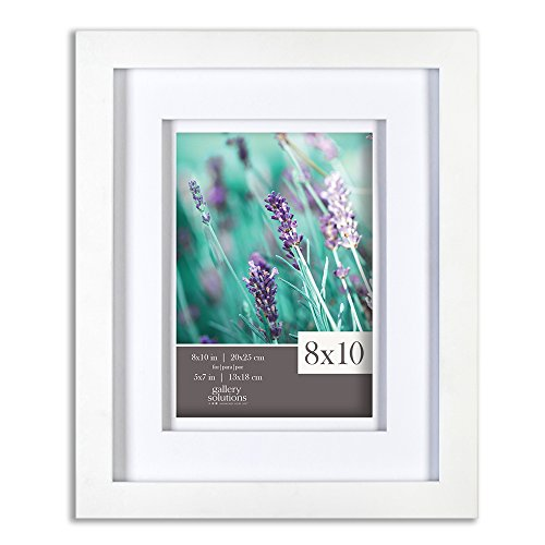 10 White Wood Frame with Double White Mat For 5x7 Image ()