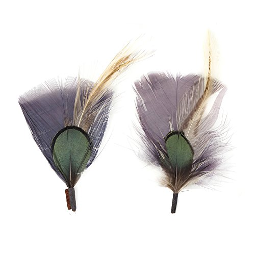 Zucker Feather (TM) - Pheasant-Turkey-Hackle Feather Hat Trims Charcoal/Natural