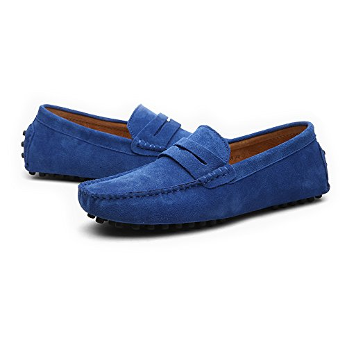 Loafers Mocasines Cuero Slip 45 Genuino On Casual Suede de Conducción Size Hombres EU Color Sapphire Shoes Boat Penny los xznwIFqf