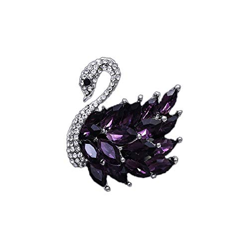 (JKJF Purple Swan Brooch Pins, Purple Crystal Brooch for Women, Gifts for Birthday, Gifts for Valentine's Day)