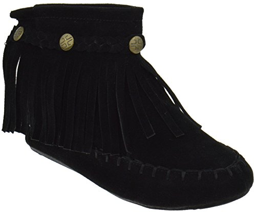 TG 01K Little Girls Ankle Moccasin Single Layer Fringe Boots Black - Indian Boots Ankle