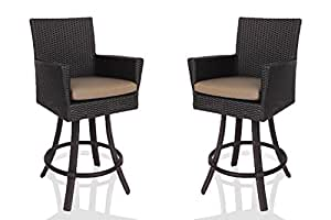 "Patio Swivel Bar Stools with Back - All Weather Outdoor Wicker Bar Stool (31"" Seat Height) in Espresso Brown. Set of 2 (Heather Beige)"