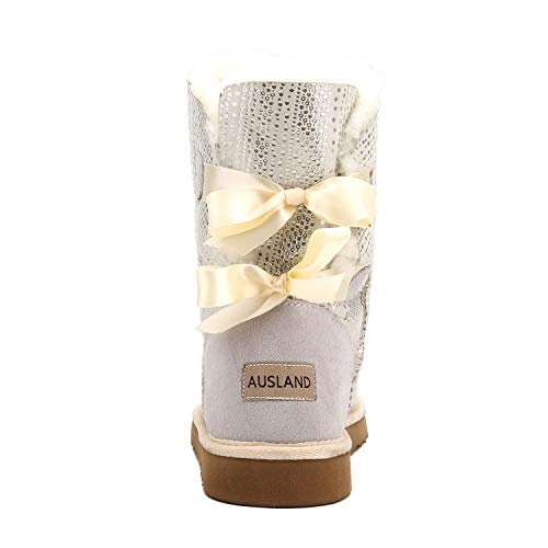 Mid Boots Ribbon D5078 Women's Double Fashion Snow calf White Shenduo Bowknot 84RqFX