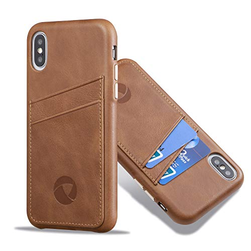 Luckycoin iPhone Xs MAX Leather Case Cover Slim Shell Cases Vintage Full Grain Leather Card Holder with Protective Metal Silver Side Buttons Compatible Apple iPhone Xs MAX 6.5 Inches Dark Brown