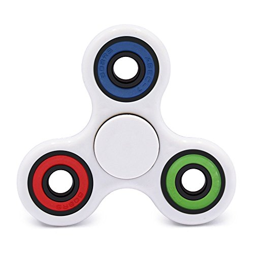 Yeahbeer Hand Spinner Toy Stress Reducer and Perfect for ADD, Fidget Work Ultra Fast Bearings, White Colorful