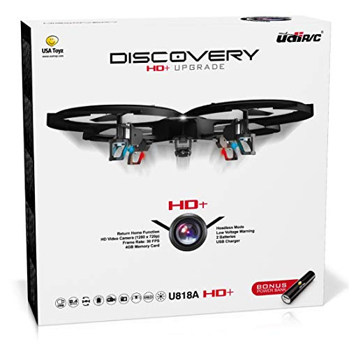 Remote Control Drone with Camera  U818A Discovery HD Camera Drone Long Range Flying Drones for Adults or Kids w/ LEDS, Micro SD, Extra Drone Battery