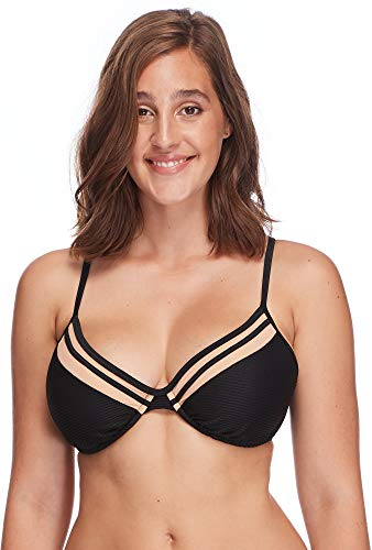 Body Glove Women's Solo Underwire D, DD, E, F Cup Bikini Top Swimsuit, Scandal Ribbed Black, DD Cup